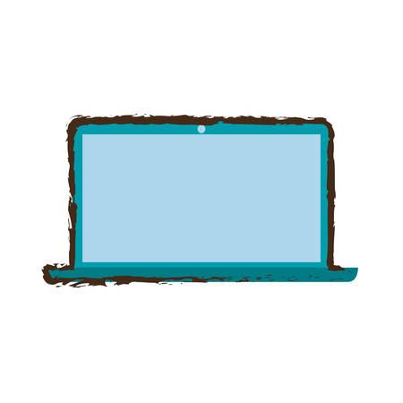 electronic gadget: blue laptop technology electronic gadget sketch vector illustration eps 10