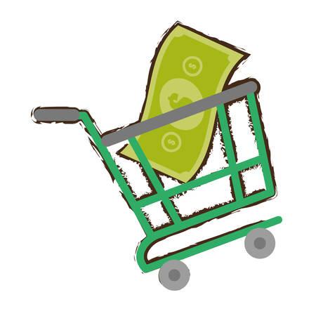 green shopping cart online bill money sketch vector illustration eps 10