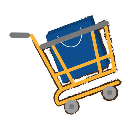 yellow shopping cart online papper bag gift sketch vector illustration eps 10
