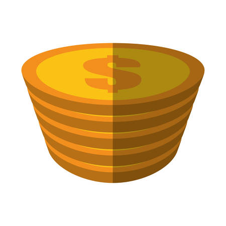 rouleau: golden coin pile dollar color shadow vector illustration eps 10