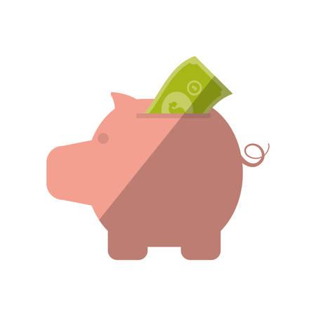 piggy money bill dollar color shadow vector illustration eps 10
