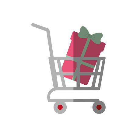 shopping cart online boxes gift color shadow vector illustration eps 10 Illustration