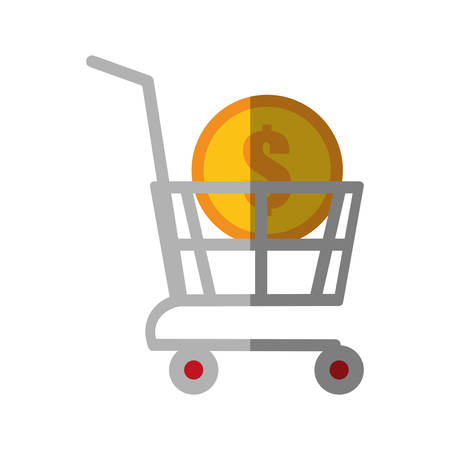 shopping cart online coin dollar color shadow vector illustration eps 10