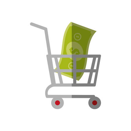 shoe store: shopping cart online bill money color shadow vector illustration eps 10
