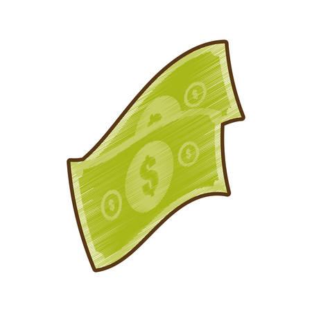 stylized banking: drawing money bills cash dollar vector illustration eps 10