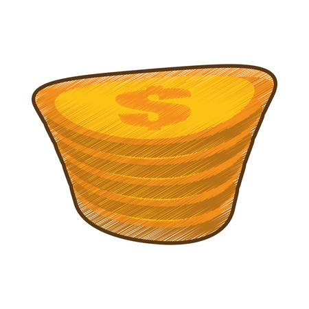 drawing golden coin pile dollar vector illustration eps 10