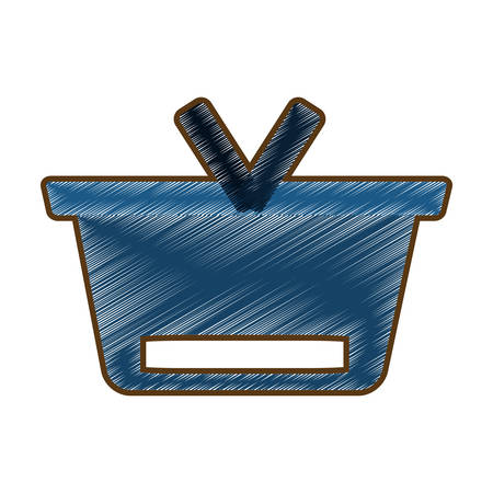 shoppingtrolley: drawing blue basket shopping online concept design vector illustration eps 10