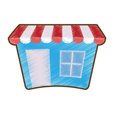 shoppingtrolley: drawing blue shopping store market online vector illustration eps 10