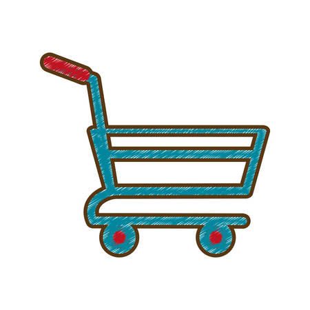 drawing shopping cart online delivery market vector illustration eps 10