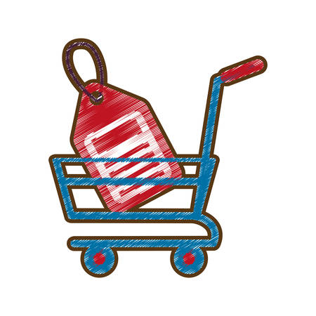 drawing shopping cart online price tag vector illustration eps 10 Illustration