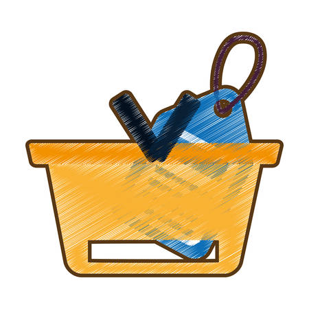 drawing basket buying online blue price tag vector illustration eps 10