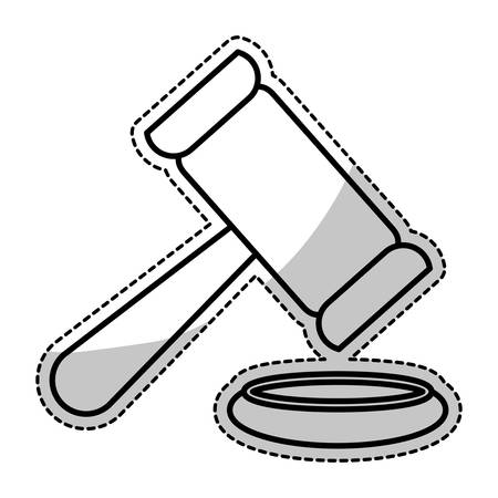 civil rights: silhouette of law gavel icon over white background. vector illustration