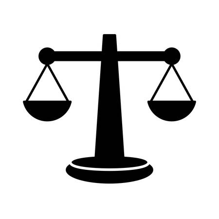 civil rights: silhouette of law scale icon over white background. vector illustration Illustration