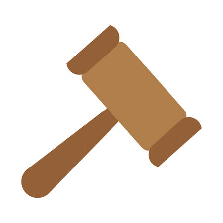 law gavel icon over white background. vector illustration