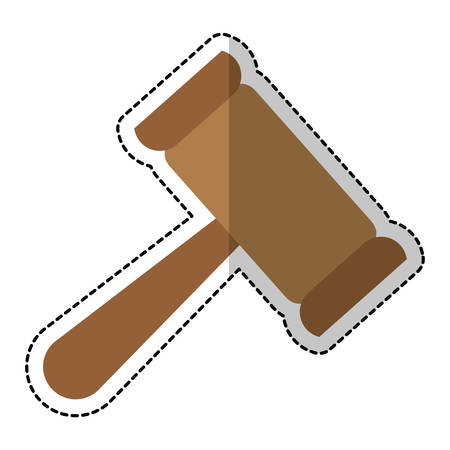 civil rights: law gavel sticker  icon over white background. vector illustration