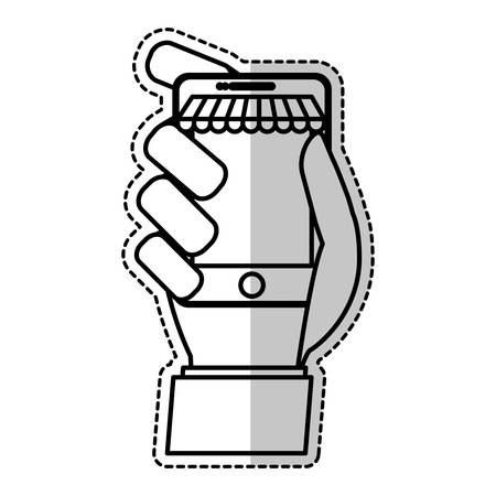 sticker of human hand holding a smartphone device icon over white background. vector illustration