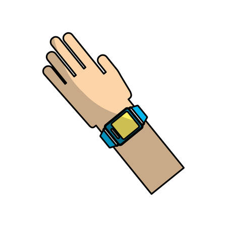 hand with smart watch icon over white background. wearable technology device design. vector illustration Illustration