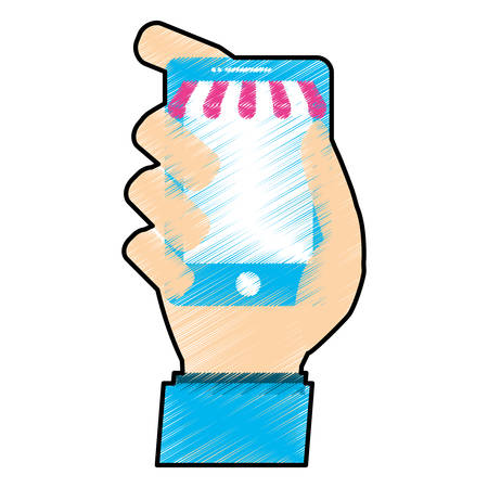 human hand holding a smartphone device icon over white background. shopping online design. vector illustration
