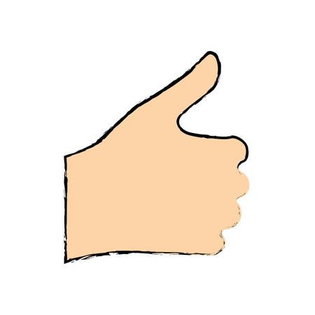 thumb up hand gesture icon image vector illustration design
