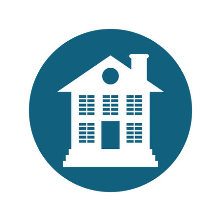 residential neighborhood: house property icon inside blue circle over white background. vector illustration