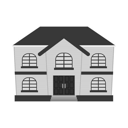 residential neighborhood: silhouette of house property icon over white background. vector illustration Illustration
