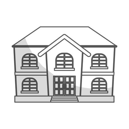 residential neighborhood: house property icon over white background. vector illustration