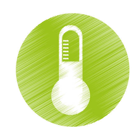 balanza de laboratorio: thermometer instrument icon inside green circle over white background. colorful and sketch design. vector illustration Vectores