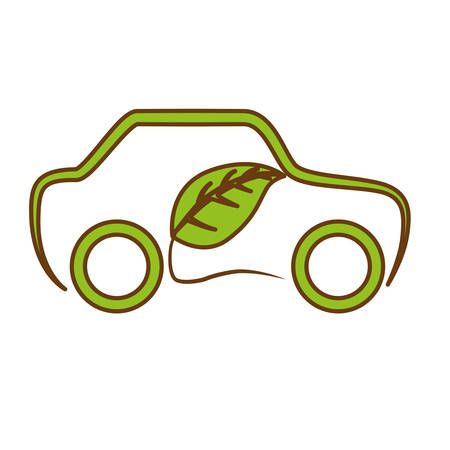 leaves and car icon over white background. eco friendly concept. colorful design. vector illustration