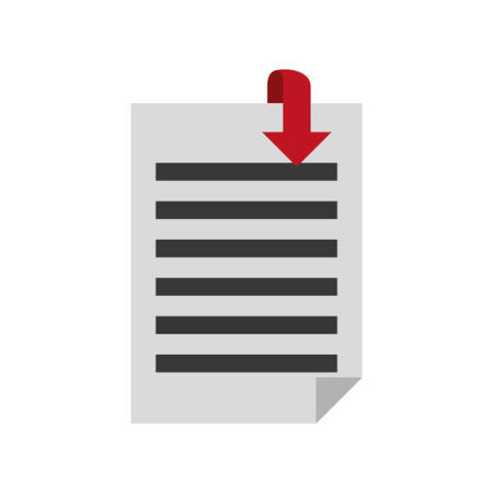 desing: document pages with download arrow icon over white background. colorful desing. vector illustration