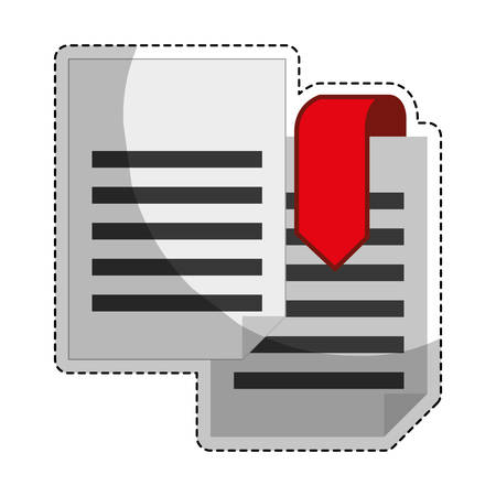 desing: sticker of document pages with download arrow icon over white background. colorful desing. vector illustration Illustration