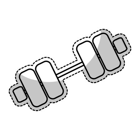 sticker of weight dumbbells gym equipment over white background. fitness lifystyle design. vector illustration