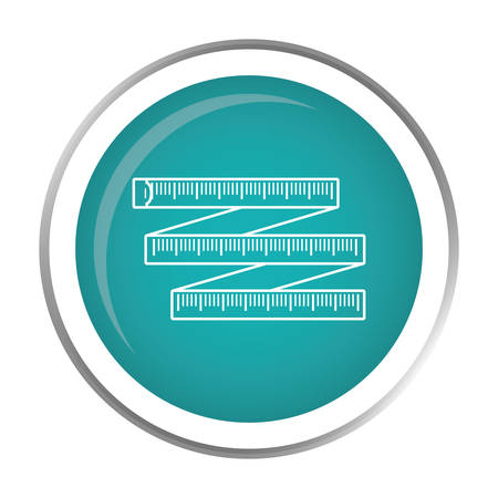 button with tape measure icon inside over white background. fitness lifestyle design. vector illustration