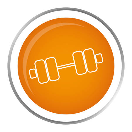 over weight: button with weight dumbbells icon inside over white background. fitness lifystyle design. vector illustration Illustration
