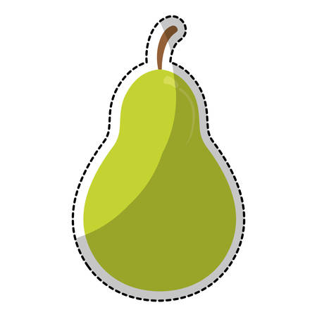 market gardening: sticker of green pear fruit with tape measure icon over white background. healthy food design. vector illustration
