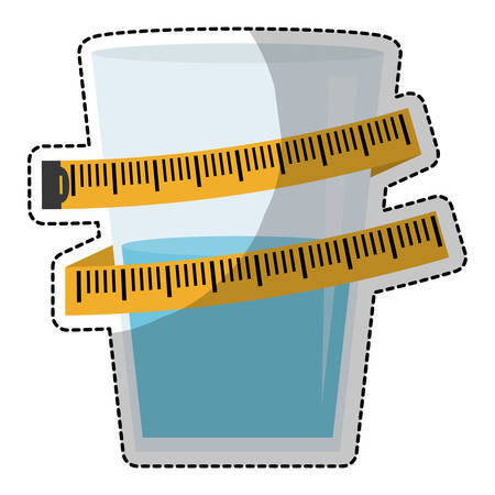 glass with water and tape measurement over white background. vector illustration