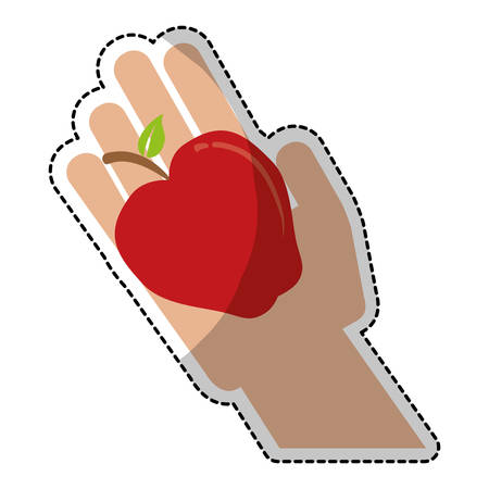 market gardening: apple with hand fruit icon image vector illustration design