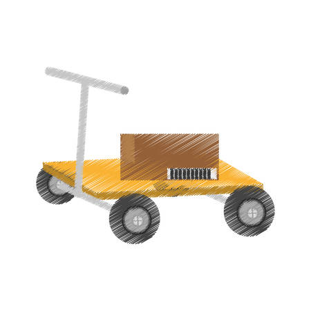 sacktruck: drawing hand pallet lift boxes delivery vector illustration eps 10