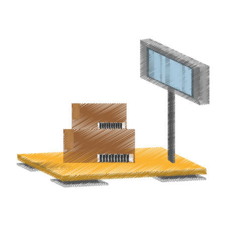 scale weight boxes delivery cargo vector illustration eps 10 Illustration