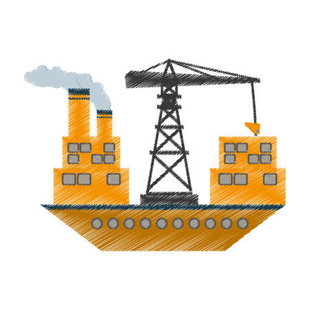 yellow ship cargo crane chimney vector illustration eps 10 Illustration