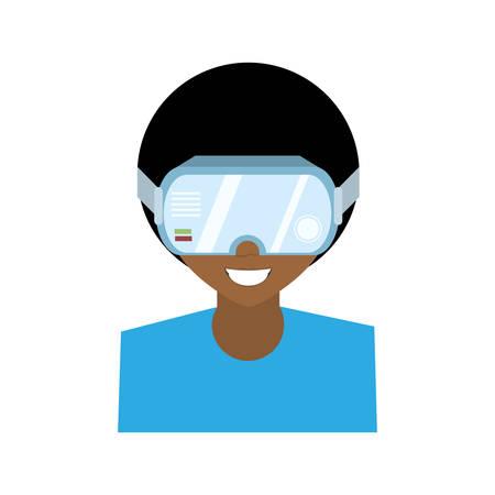 Personnage homme réalité virtuelle lunettes technologie nouveau vecteur illustration eps 10 Banque d'images - 67085214