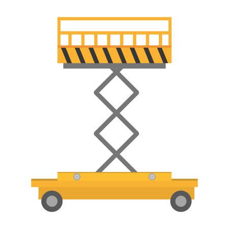 hydraulic platform: lifting platform trolley stock warehouse vector illustration eps 10