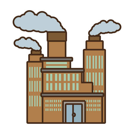 thermal power plant: cartoon manufacture building pollution chimney vector illustration eps 10