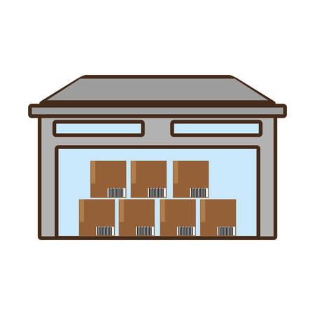 cartoon building warehouse cardboard boxes cargo vector illustration eps 10 Illustration
