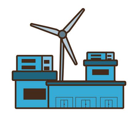 clean energy: cartoon building factory wind turbine clean energy vector illustration eps 10