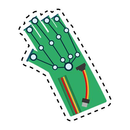 vr wired glove interaction 3d vector illustration eps 10 Illustration
