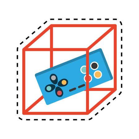 vr controller game 3d 360 degree design cut line vector illustration eps