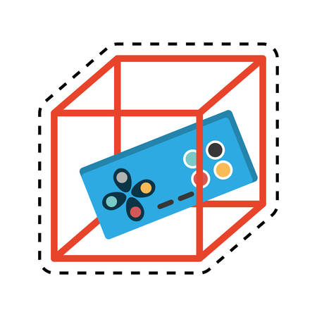 move controller: vr controller game 3d 360 degree design cut line vector illustration eps