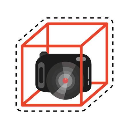 filmmaker: vr camera digital video function design cut line vector illustration eps