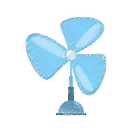 drawing pedestal fan electronic domestic appliance vector illustration eps 10 Illustration