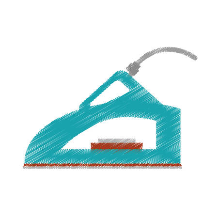 drawing steam iron household vector illustration eps 10